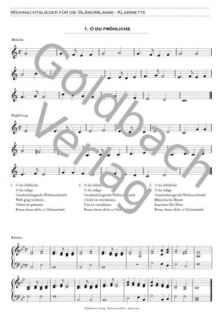 Traditionelle Weihnachtslieder.Weihnachtslieder Bläserklasse Set Goldbach Verlag